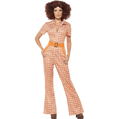 NET TOYS Vintage Jumpsuit 70er Jahre Overall S (34/36) Retro Damenkostüm Siebziger Einteiler Flower Power (Siebziger Jahre Kostüme Für Kinder)