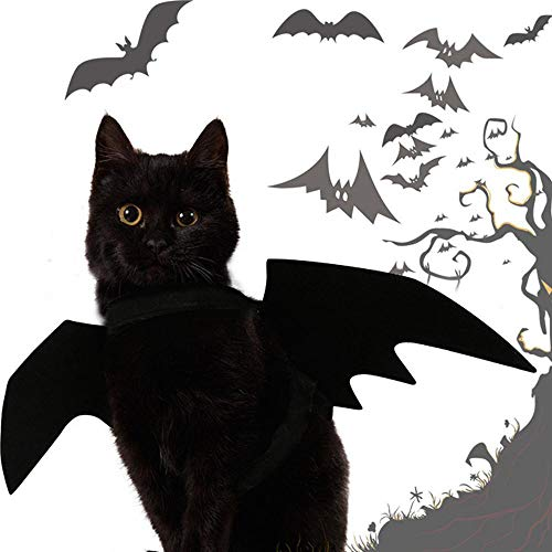 Katze Klebeband Kostüm - Aolvo Katze Bat Wings Kostüm,Halloween Fledermaus Flügel Kostüm Cosplay Kostüm Kleidung Cats Bat Wings Halloween Fancy Dress Up Party Outfit für Haustier Hund Katze