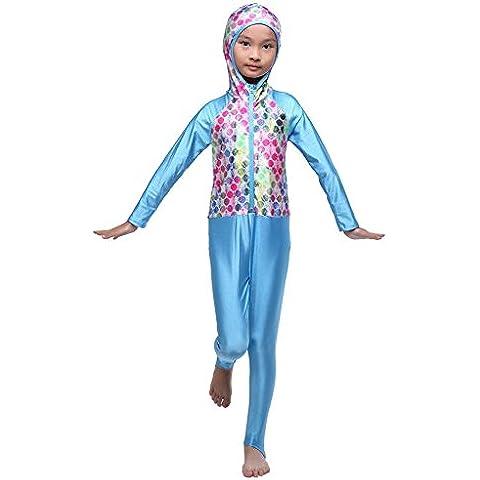 Fortuning's JDS Bambini moda incappucciati un pezzo muta vestito sole Snorkeling Diving musulmano Modesto costumi da bagno a figura intera