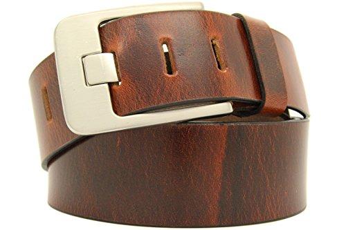 Echt LEDER Gürtel Herren Damen Büffelleder Voll-Leder Unisex Gürtel in Gold Braun und Dark Braun in 5cm Breite A2 (90cm, Dark - Braun) (A2 Leder Braun)