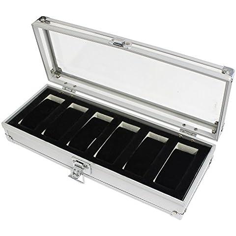 KurtzyTM Cofanetto Espositore Argento Alluminio con 6 Scomparti con Cuscinetti per Orologi e Bracciali - 4.5 Di Alta Portagioie
