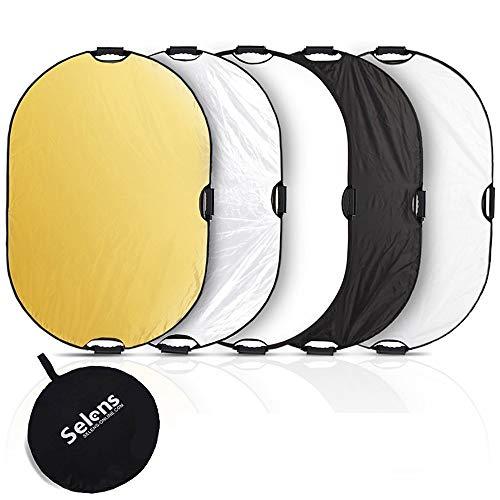 Selens 5 in 1 80x120cm Oval Licht Reflektor Faltreflektor mit Griff Fotostudio Beleuchtung Outdoor-Fotografie Schwarz Weiß Gold Silber...