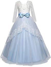 LEvifun Vestito Principessa per Ragazza Elegante Floreale Fiore Pizzo Abiti  da Sera Matrimonio Tulle Lungo Arco d170f321843