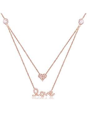 Ingenious Jewellery Rosegold Halskette mit Herz und Love Anhänger
