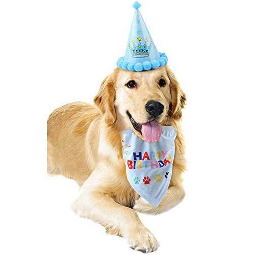 Bello Luna Happy Birthday Bandana-Schals und niedlichen Partyhut für Hunde Pet Geburtstag Geschenk Dekorationen Set - blau
