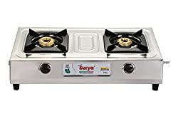 Golden Surya Elegant Stainless Steel -2 Burner Gas Stove