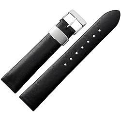Uhrenarmband 18mm Leder schwarz glatt - Ersazband für Uhren aus echtem Rindsleder - klassisches Uhrband mit silberner Schlaufe aus Edelstahl - Marburger Uhrenarmbänder seit 1945 - schwarz / silber
