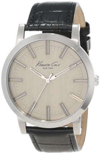 Kenneth Cole KC1931 44mm Stainless Steel Case Black Leather Mineral Men's Watch
