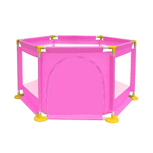 Playpens - Protable Baby Toddler Safety Play Center Yard, Big Feet Anti-rollover Children's Game Fence (color : PINK) Playpens  1