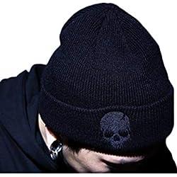 Zonsaoja Sombrero de Punto Unisex Gorra de Calavera Beanie Hip Hop Invierno cálido Negro One Size