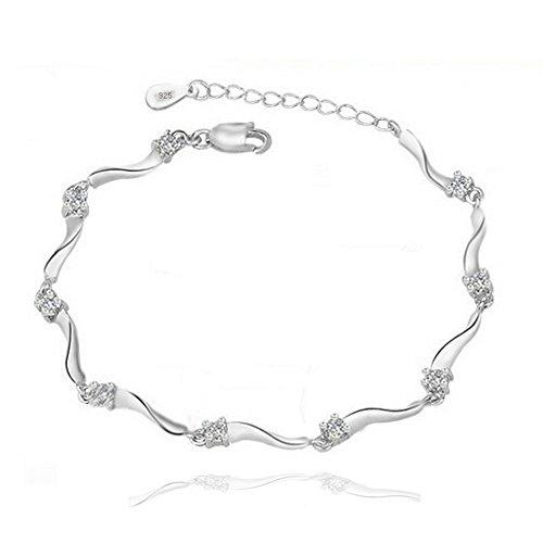 Silber-Armband,Sterling-Silber 925,original Zirkonia, ideal als Geschenk für Frau oder Freundin by bravetzx