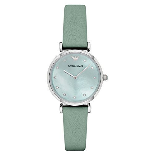 Emporio Armani - AR1959 - Montre Femme - Quartz Analogique - Cadran Nacre - Bracelet Cuir Vert