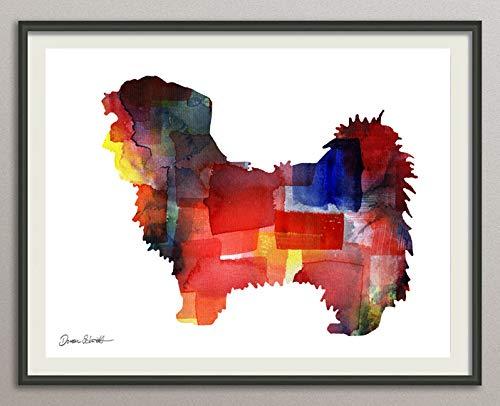 shih tzu 2 Rasse Hunde Hunderasse Fine Art Print Aquarell Silhouette Profil Poster Kunstdruck Plakat modern ungerahmt DIN A 4 Deko Wand Bild -
