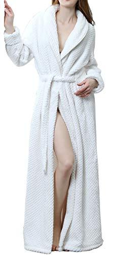 DSNOW Pyjama Femme Polaire Robe Chambre Longue Hiver Sortie de Bain Peignoir Pas Cher personnalisé Blanc M