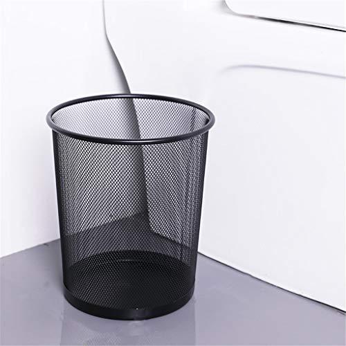 Papierkorb Tragbarer Metall Mesh Round Mülleimer Schmiedeeisen ohne Deckel Eimer Küche Aufbewahrungseimer für Home Office Autos, 26 cm x 23 cm (Schwarz)
