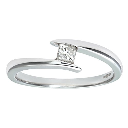 Naava Women's 9 ct White Gold 0.28 ct Princess Cut Diamond Solitaire Engagement Twist Ring