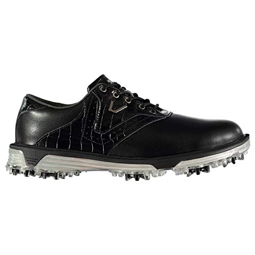 Slazenger Herren V500 Leder Golfschuhe Wasserfest Softspikes Schwarz 46