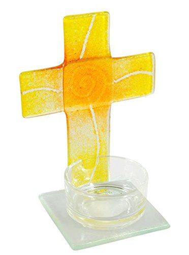 Tealight Glass - croce gialla / arancio 11x8x6 cm