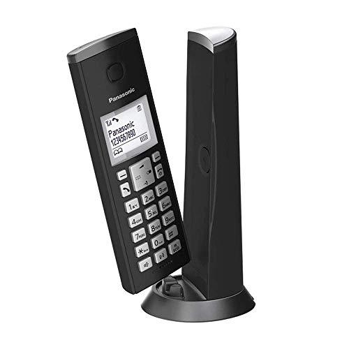 Panasonic KX-TGK210JTB Telefono Cordless Digitale Singolo, Schermo LCD 1.5' con Retroilluminazione Bianca, Suoneria Polifonica, Blocco Chiamate Indesiderate, Modalità Eco e Eco Plus, Nero