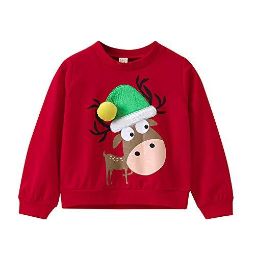 Selou Kinder Weihnachten Elch Print Sweater Rotes Sweatshirt Lässiges lockeres Oberteil Weihnachtsferien Anpassung Monochrome Pullover Kinder T-Shirt Gewöhnlicher Pullover Schöner süßer Mantel