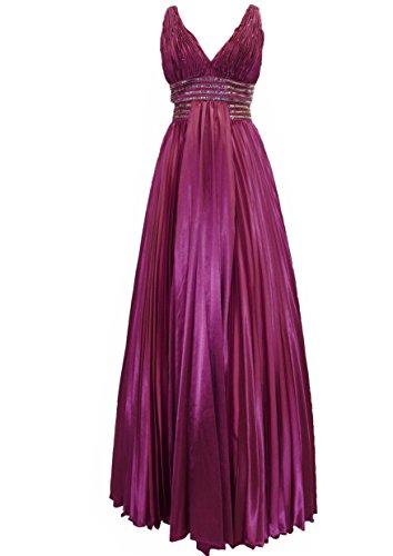 Lissa Paris Langes Damen Plissee Satin Abendkleid Ballkleid Sabrina burgund 40