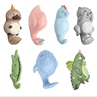 LIYUAN Hooks Decorative for Wall Cute Pet Hook Coat Key Mounted Rustic Coat Rack Easy to Install Resin Animal Shape Clothes (7hooks)