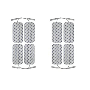 8 x EMS- und TENS-Elektroden-Pads | Passend zu Cefar Compex | 10x50mm | 2mm-Stecker | axion Markenqualität | Selbstklebend und langlebig