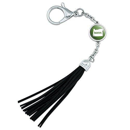 Oregon oder Home State solid grün Offizielles Lizenzprodukt Rucksack Handtasche Purse Sports Flasche Schlüsselanhänger Leder Quaste Charme (State Leder Oregon)