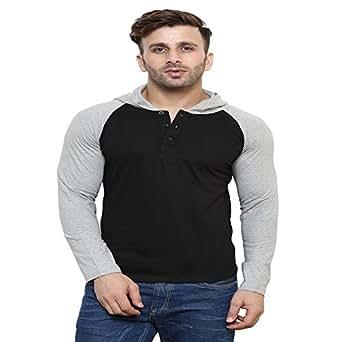 Leana Men's Hooded T-Shirt (SR56_Mgrey Black_XL)