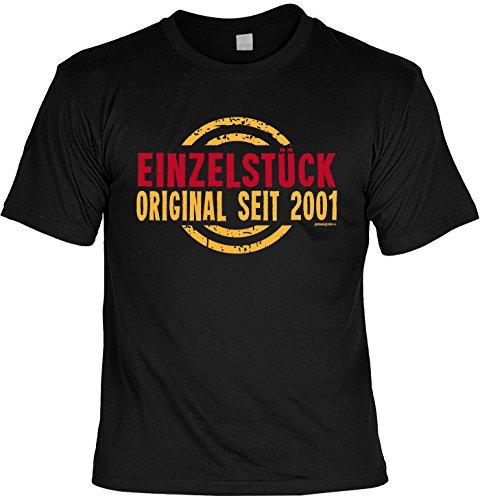 T-Shirt zum Geburtstag: Einzelstück, Original seit 2001 - Tolle Geschenkidee - Baujahr 2001 - Farbe: schwarz Schwarz