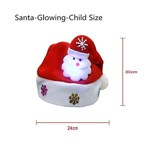 Weihnachten glühende Hüte Weihnachtsmann Schneemann Elk Kinder Erwachsene Cap for Weihnachtsfest Weihnachtsverzierungen -Kind Erwachsene Optional Schön Ferien Hatl (Color : Santa Claus Glow Chi) -