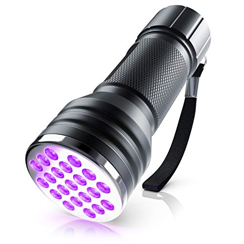 Brandson - LED UV Schwarzlicht Taschenlampe - UV-Schwarzlicht Taschenlampe - Ultraviolett Leuchte mit 21 x LEDs - Energieeffizienzklasse A - hohe Beleuchtungsfläche leuchtintensiv
