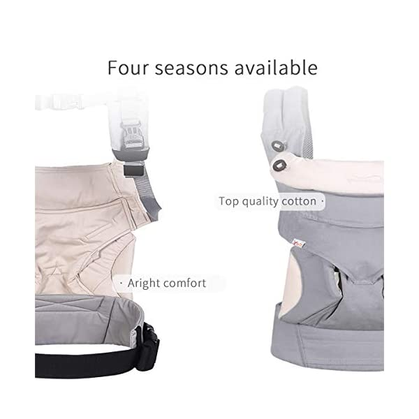 SONARIN 4-in-1 Convertible Baby Carrier,Sunscreen Hood,Ergonomic,for Newborn to Toddler(3-48 Months),Maximum Load 20kg,Front Facing Baby Carrier,Child Carrier Backpack(Grey) SONARIN Applicable age and Weight:3-48months of baby, the maximum load:20KG, and adjustable the waist size can be up to 47.2 inches (about 120 cm). Material:designers carefully selected soft and delicate 100% Cotton fabric.Soft machine wash,do not fade,ensure the comfort and breathability,high strength,safe and no deformation,to the baby comfortable and safe experience. Description:Patented design of the auxiliary spine micro-C structure and leg opening design,natural M-type sitting.Adjustable back panel that grows with baby and offers head and neck support with sleeping hood that provides UV50+ sun protection. 3