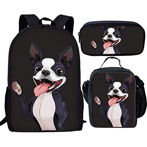 Nopersonality Rucksack-Set 3-teilig Elementary Kinder Schultaschen für Jungen Mädchen Kleine Lunchbox Lunchbox Federmäppchen, Boston Terrier School Bag Set (Schwarz) - Nopersonality - Personalisierte Boston Bag