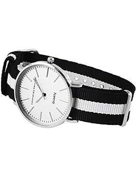 Leonardo Verrelli Armbanduhr Analog Damen Herren mit Textilarmband Gestreift Gehäuse Silberfarbig Quarzwerk Dornschließe