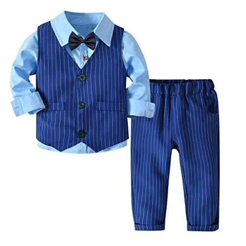 Riou-Baby Anzug Set Kinder Pullover Familie Pyjama Outfit Baby Jungen Gentleman Weste Bow Hosenträger Strap Hosen + Shirt Ausstattungs 3PCS Set (130, Blau) (Pullover Für Jungen Weste)