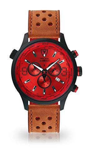 DETOMASO AURINO Montre pour Hommes Chronographe Chronographe analogique Quartz Brun Clair Bracelet en Cuir de Course Rouge Cadran Rouge DT1061-B-839