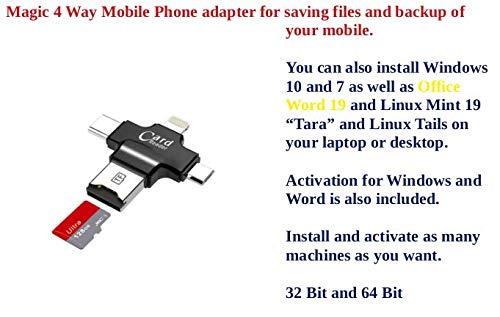 Magic Phone Backup Installation mit 4 Anschlüssen für Windows 10 & 7 Word 19, Mint 19.1, Tails