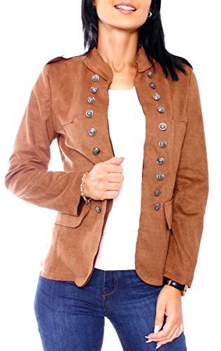 Easy Young Fashion Damen Velours Jersey Blazer Jacke Militaryblazer Tailliert Uni Cognac S 36 (M)
