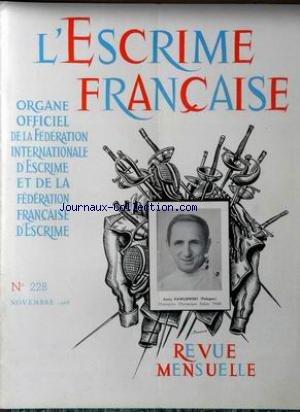 ESCRIME FRANCAISE (L') [No 228] du 01/11/1968 - JERZY PAWLOWSKI (POLOGNE) par Collectif