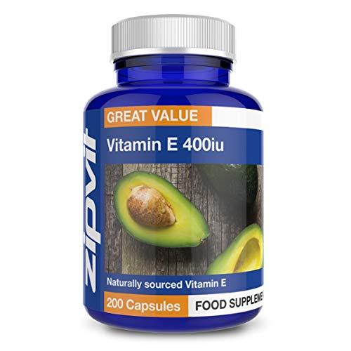 Vitamina E 400i, 200 Softgels. Naturale Vitamin E, D-alfa-tocoferolo