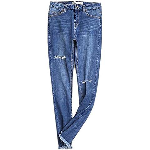 ZYQYJGF Las Mujeres Destruyen Jeans Denim Azul Pocket Slim Stretch Clásico De Mediana Altura De Entrepierna Cremallera Larga Botón Suelta Color Sólido Profundo Pantalones Casuales . 42