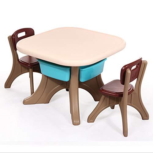 Table et chaise pour Enfants Bureau Table Maternelle en Plastique n'est Pas Déformée (Une Table Et Deux Chaises) (Couleur : Brown)