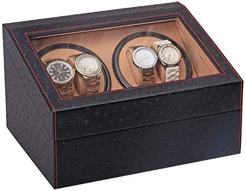PORU Uhrenbeweger Für Automatikuhren Watch Winder Für 4 + 6 Uhren Uhrenvitrine Uhrenbox Rectangle Mute Automatische Uhrenbeweger Laufleise, Sichtfenste, Elegantes Design