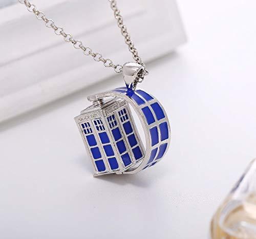 Dr. Doctor Who Halskette Rotierende Tardis Polizei Box Vintage Blau Und Silber Anhänger Schmuck Für Männer Und Frauen