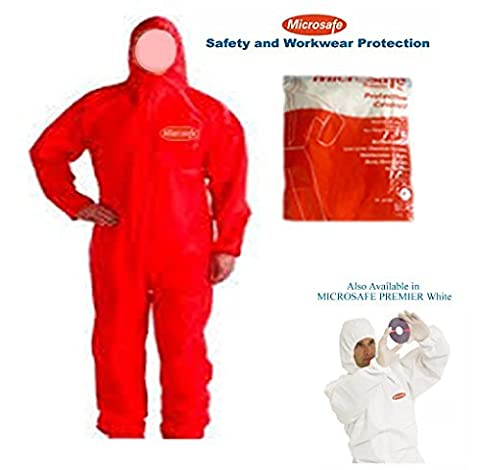 MICROSAFE LARGE RED BOILER SUITS Disposable Coveralls CAT 3 TYPE 5 & 6 - EC CERTIFIED 89/686/EEC