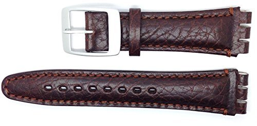 New Condor 19mm (22mm) Sized Genuine Leather Strap Compatible for Swatch Watch - Brown - Chrome Buckle - SC14_02