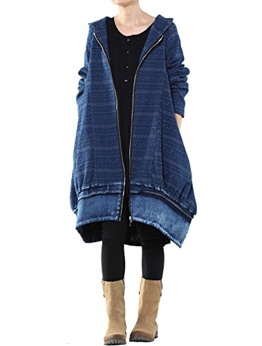 Vogstyle Damen New Let go Fit Hoodie Zipper Jeans Trench Coat mit Taschen Blau L