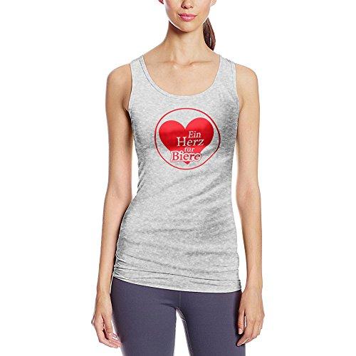 Frauen Tanktop mit Aufdruck in Grau Gr. L Ein Herz für Biere Design Girl Top Mädchen Tank Top Damen Basic 100% Baumwolle Kurzarm (Liebe Bier T-shirt Girls)