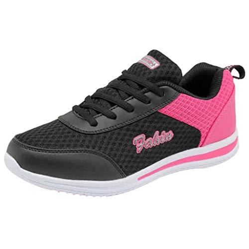 COZOCO Damenmode Bedeckte Seite Vamp Schuhe Freizeitschuhe Outdoor Wanderschuhe Wohnungen Schnürschuhe Sportschuhe(schwarz,36 EU)